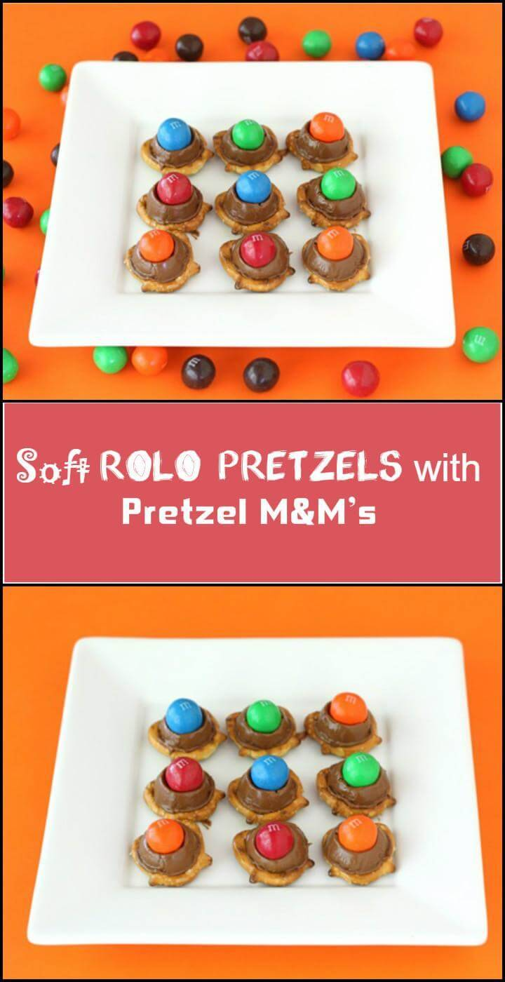 soft Rolo pretzel with pretzel M&M's
