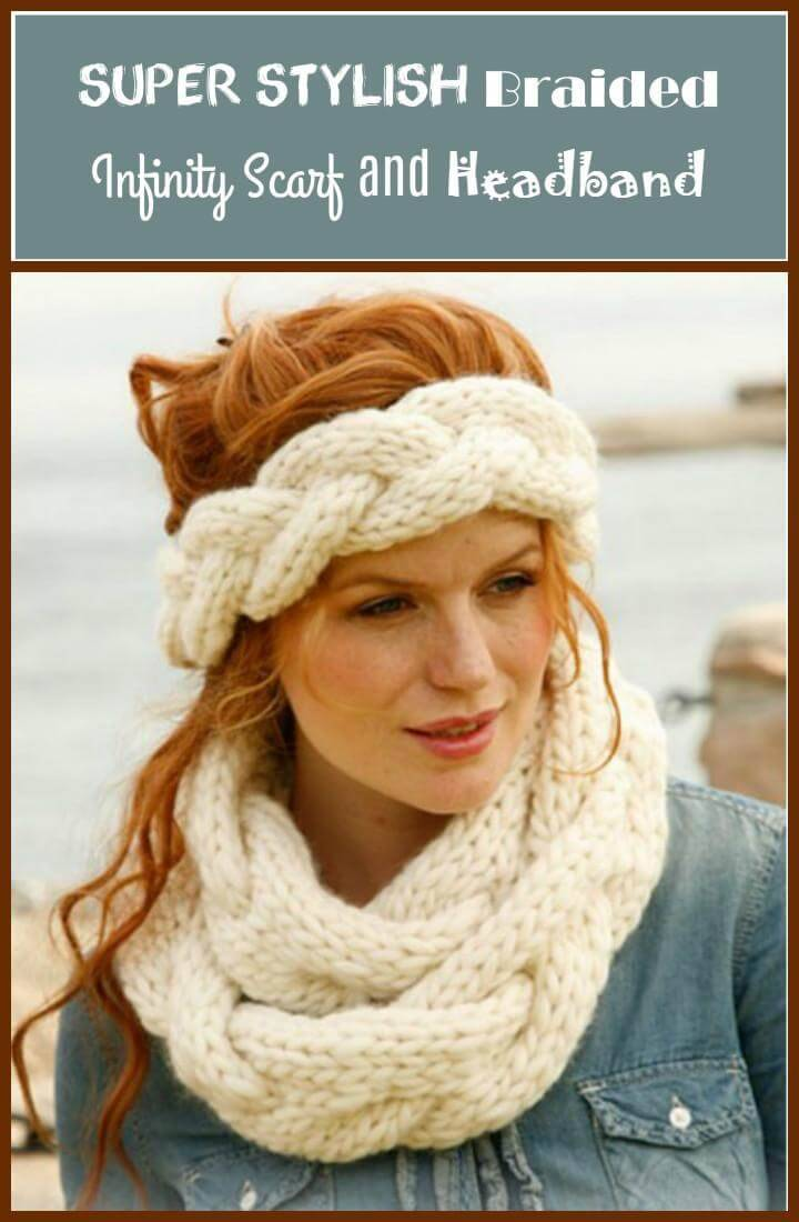 super stylish braided infinity scarf and headband