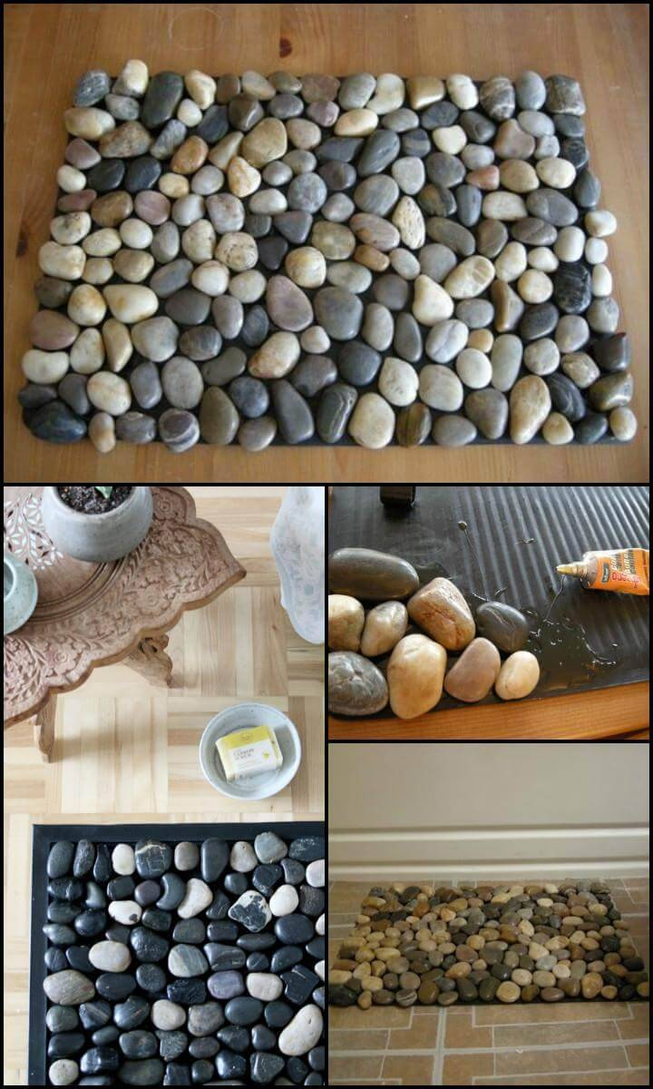 cost-effective DIY pebble bath mat