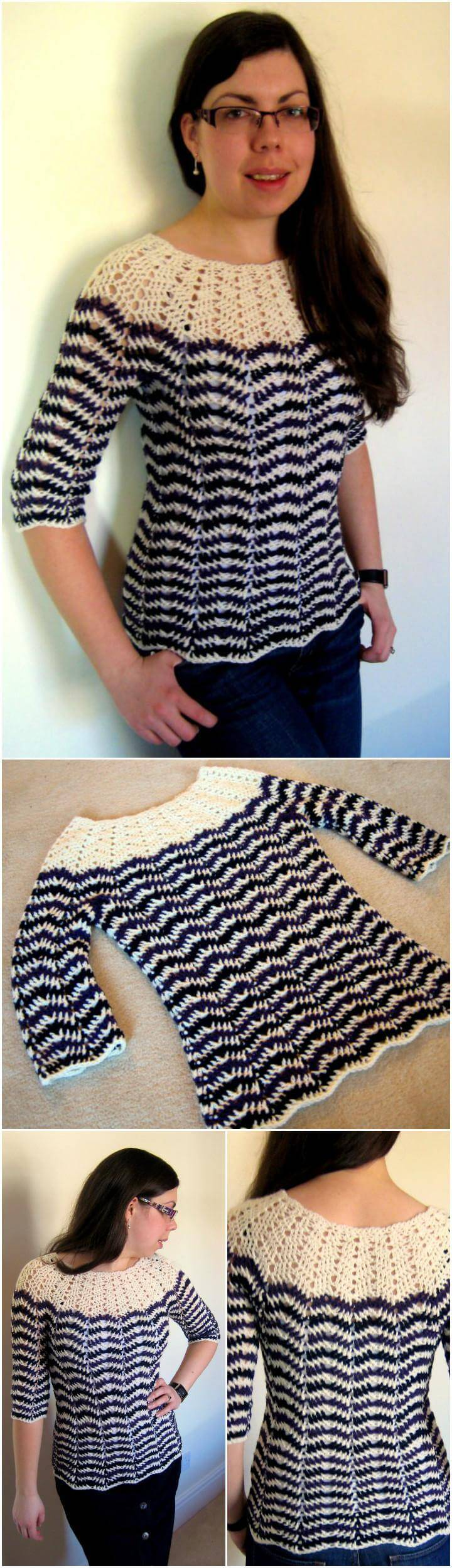free chevron stripe crochet top