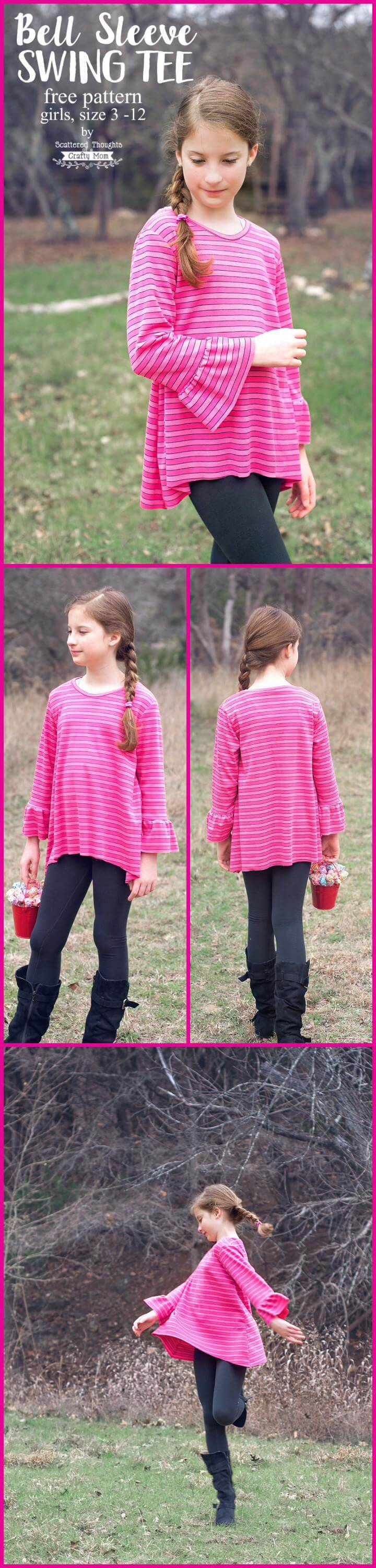 easy bell sleeve girl's tee pattern and tutorial