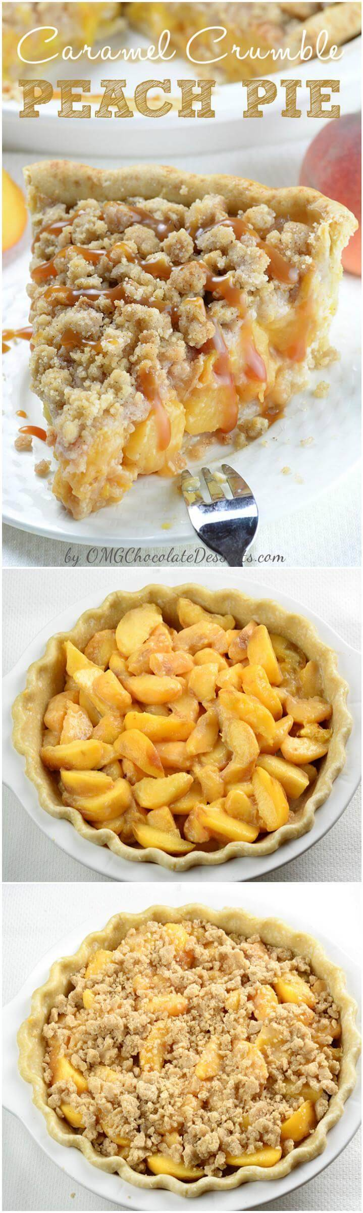 caramel crunch peach pie