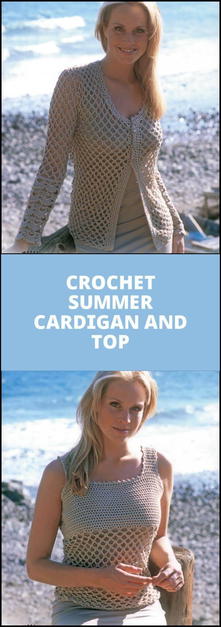 free crochet summer cardigan and top pattern