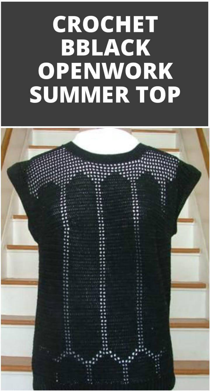 glam black crochet openwork summer top