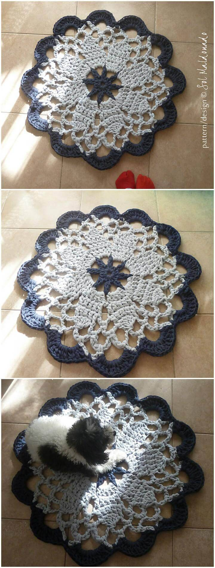 free crochet doily rug mandala