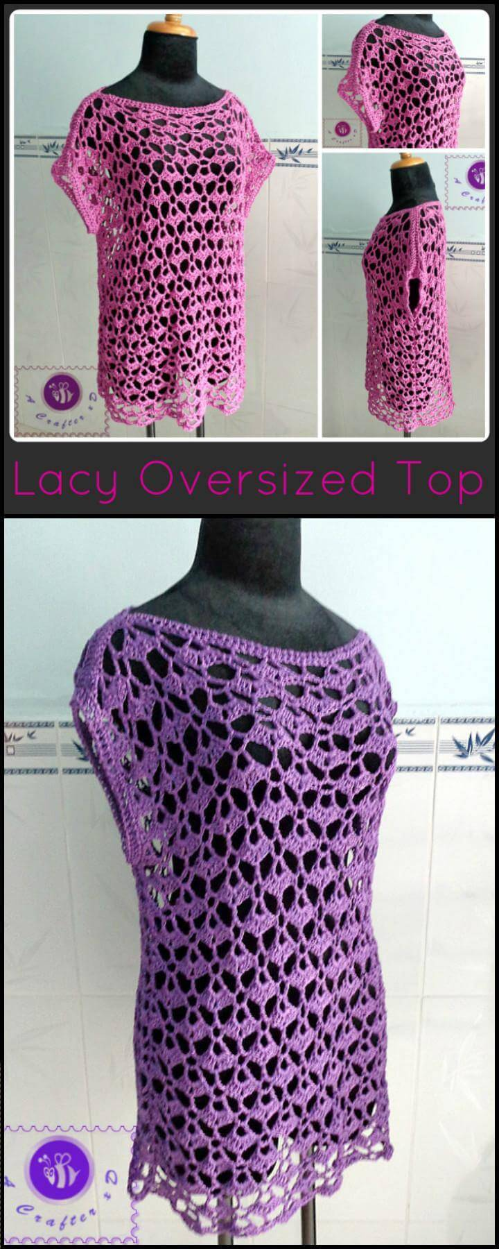 breathy crochet lacey oversize top