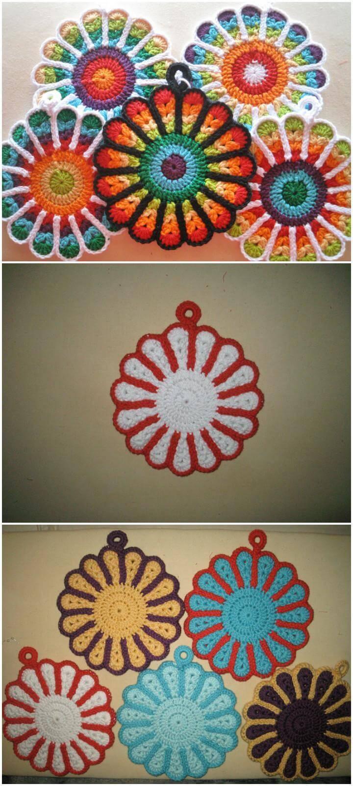 free crochet mandala flower potholders
