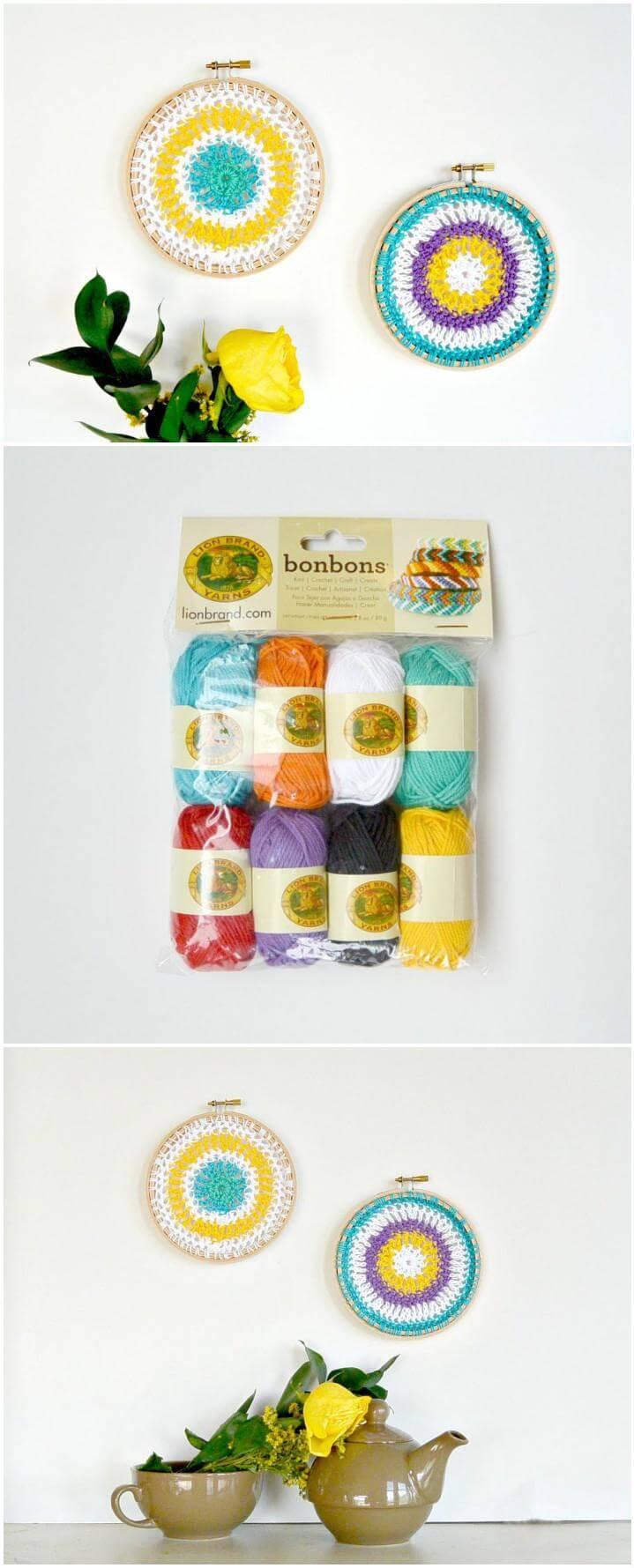 hanging crochet mandala hoops