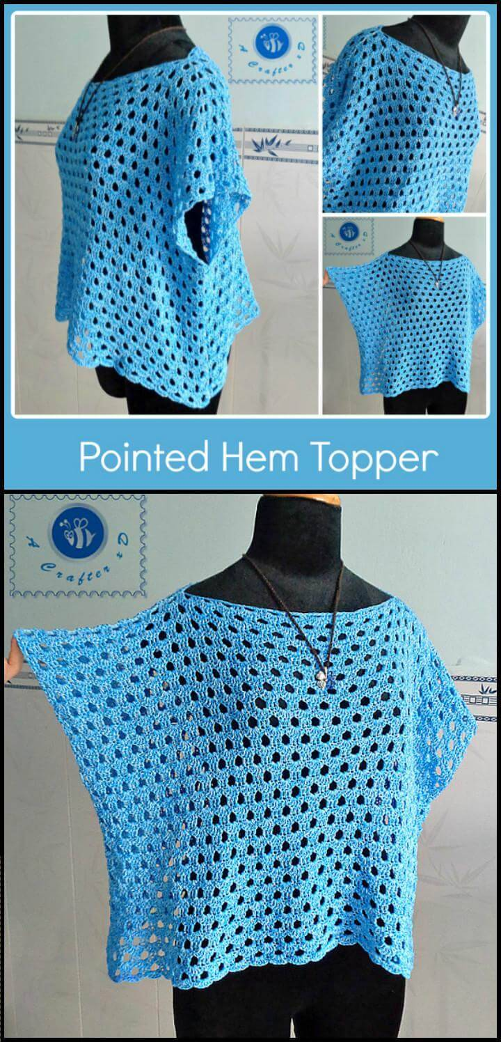 free crochet pointed hem topper