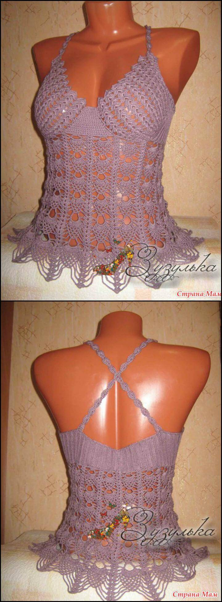 easy crochet summer top with beautiful bodice