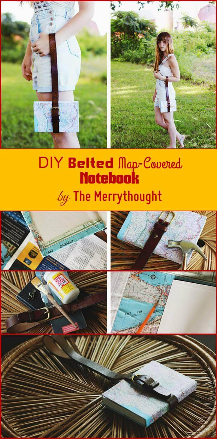 self-made belted map-covered notebook