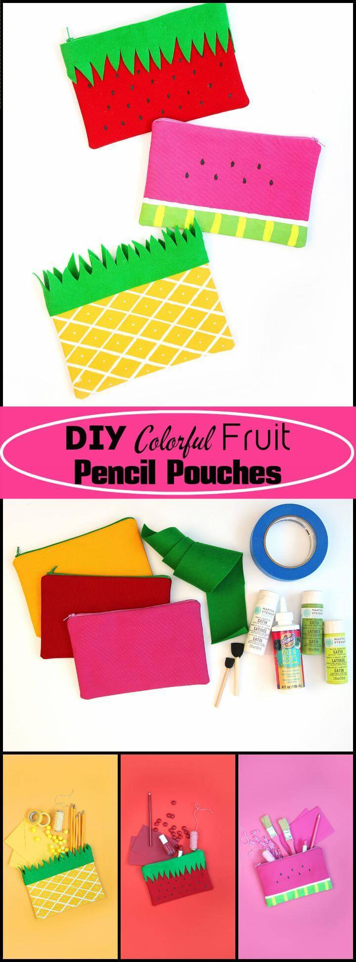 handmade colorful fruit pencil pouches
