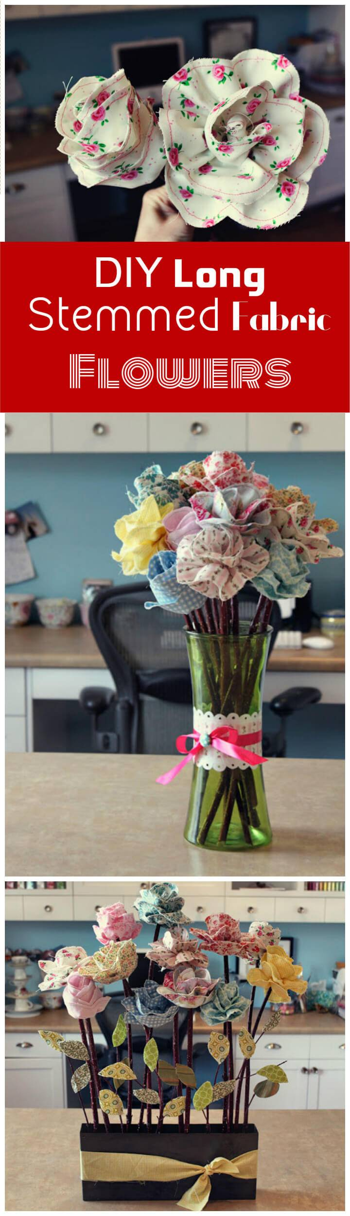 DIY long stemmed fabric flowers