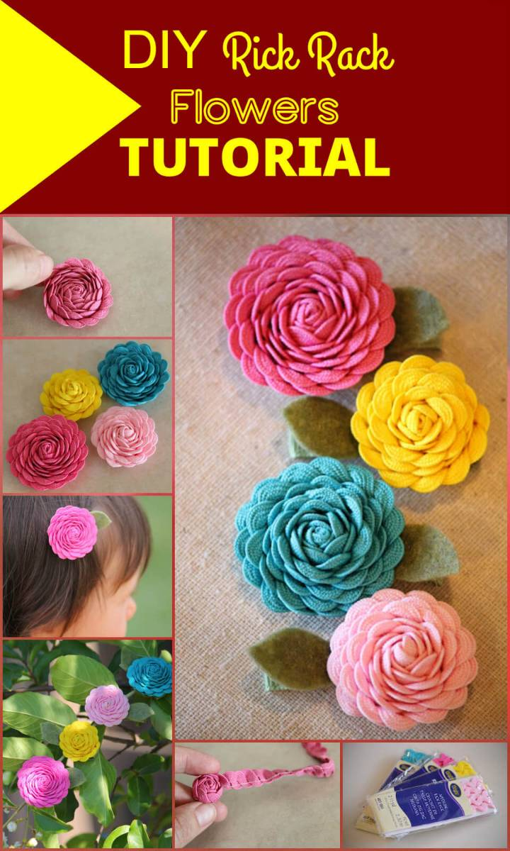 beautiful rick rack flowers tutorial
