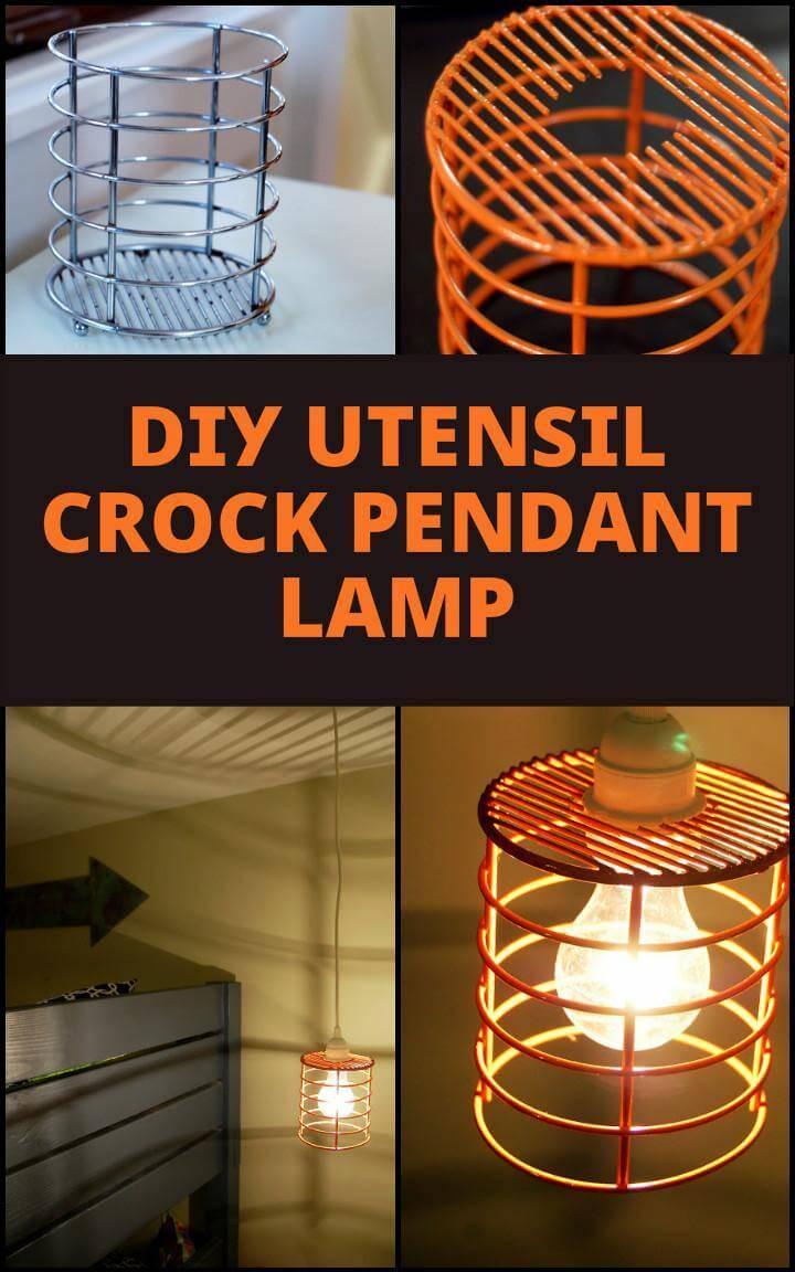 diy pendant lighting. Upcycled Utensil Crock Diy Pendant Lamp: Repurposed Lamp Lighting L