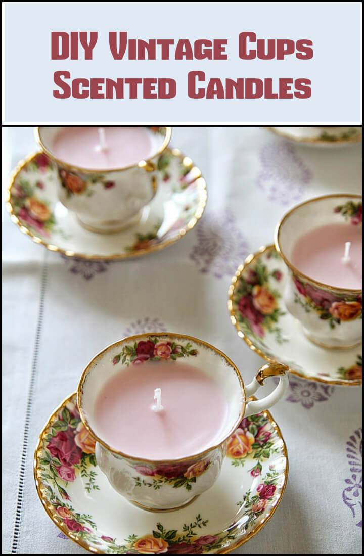 repurposed vintage cups scented candles