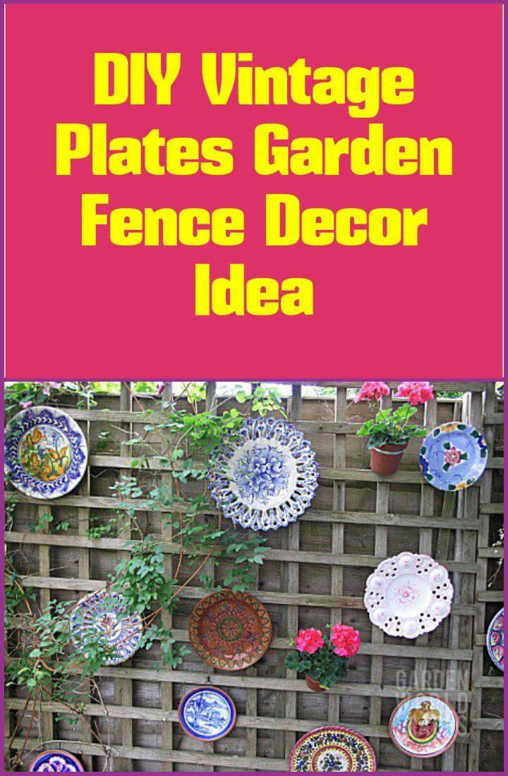 repurposed vintage plates fence decoration