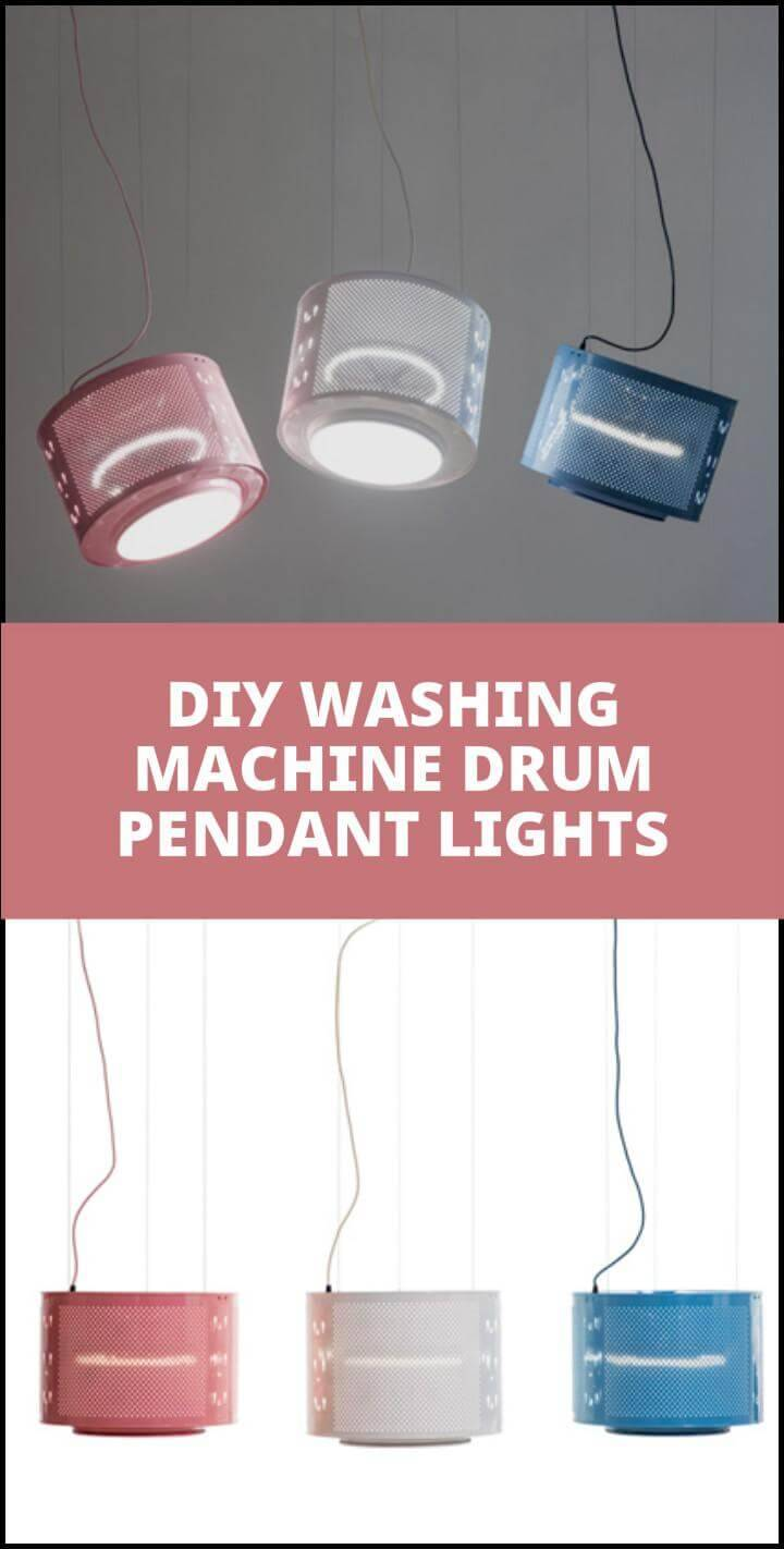 recycled washing machine drum pendant lights