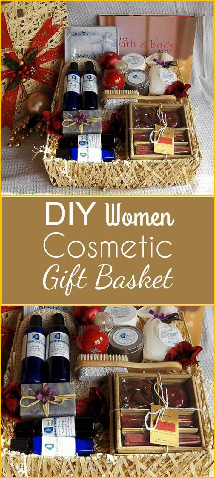DIY women cosmetic gift basket