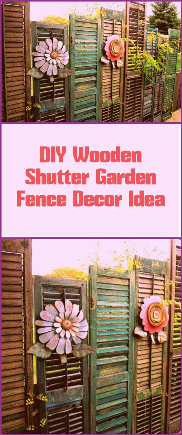 self-made wooden shutter garden fence decor