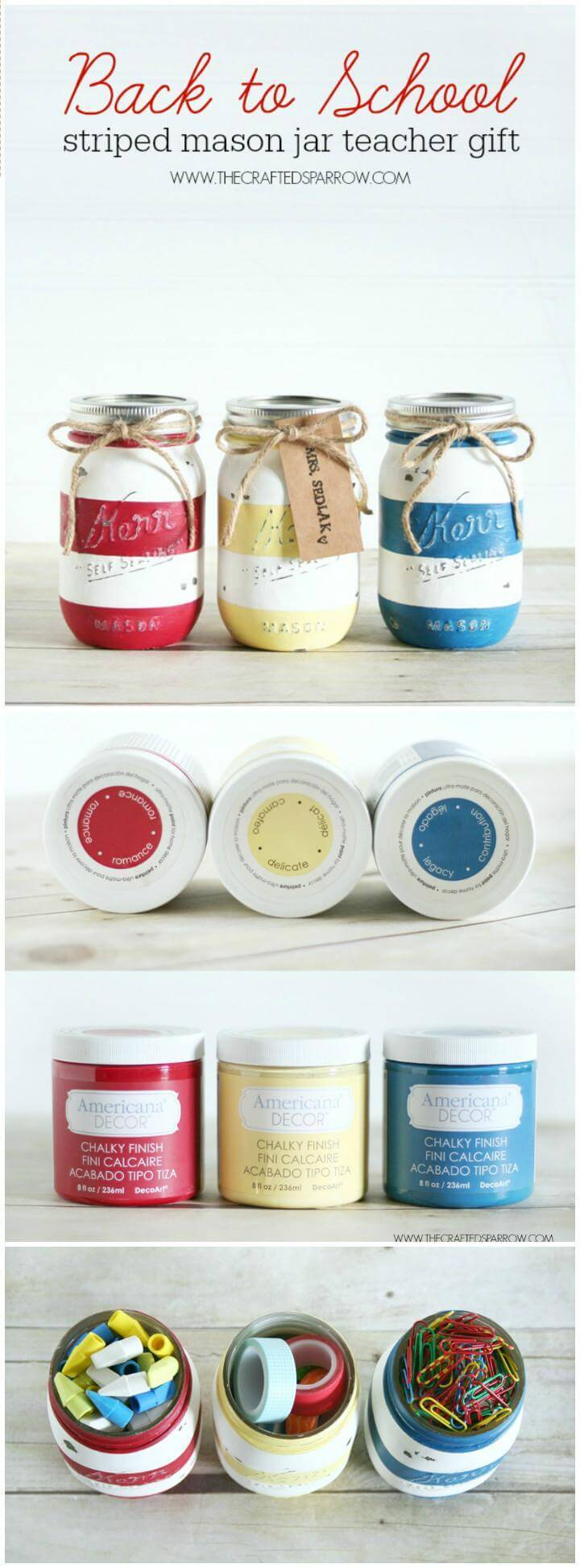 easy back-to-school striped mason jar teacher gift
