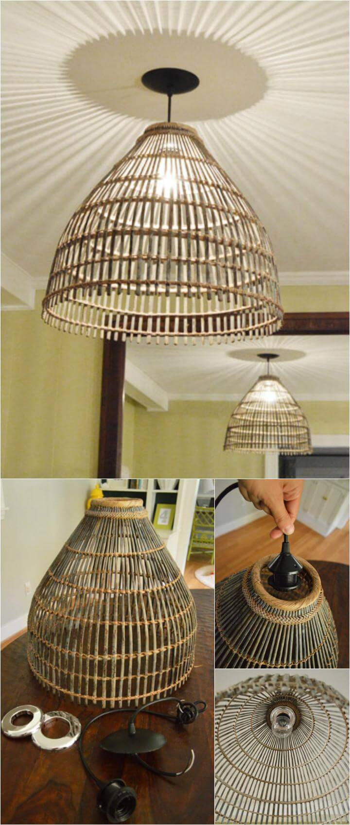 reclaimed basket into beautiful pendant light