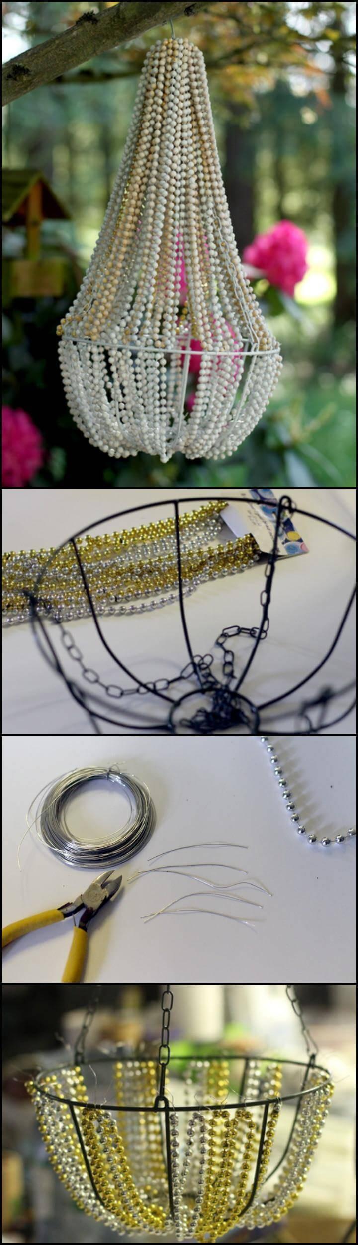 handmade beaded pendant light or chandelier