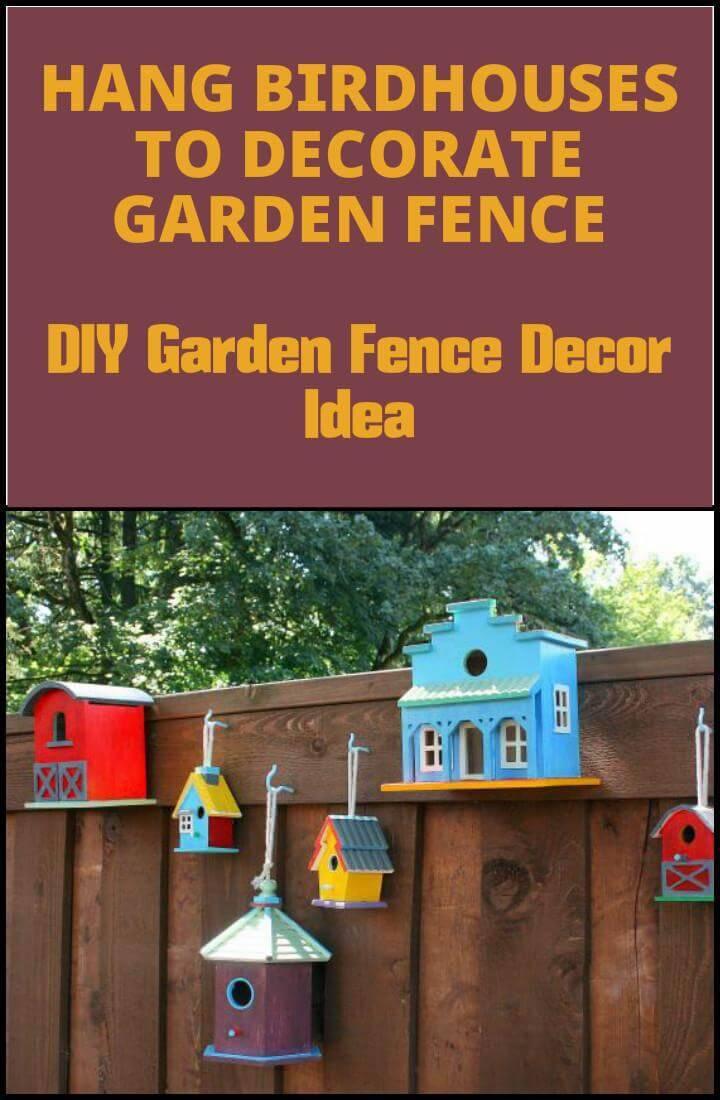 hanging birdhouses garden fence decor idea
