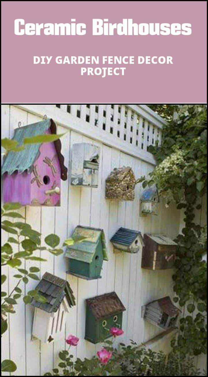 repurposed ceramic birdhouses garden fence wall decors
