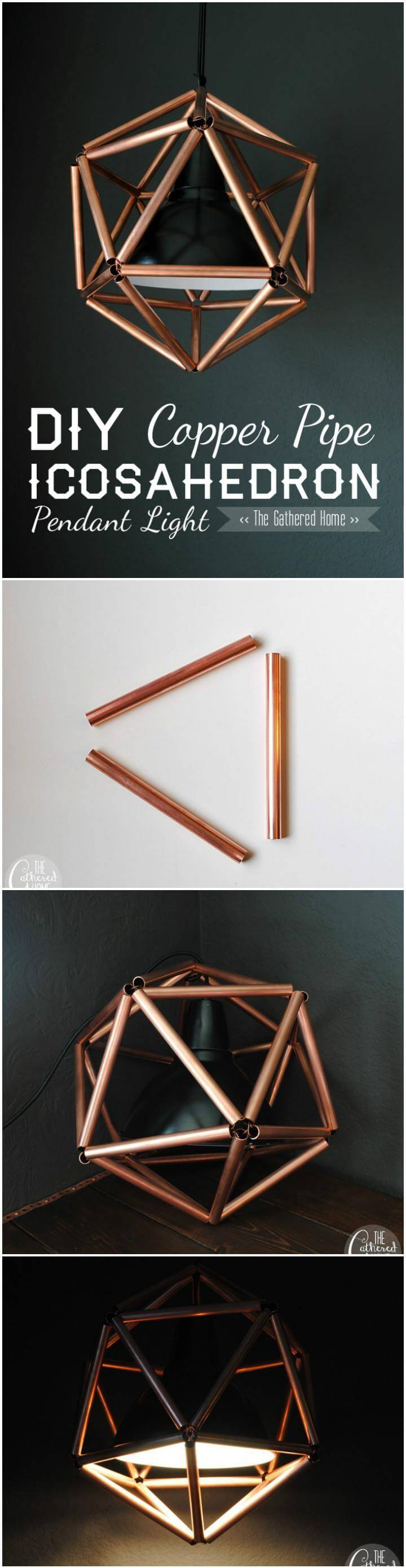 self-made DIY copper pipe icosahedron pendant light