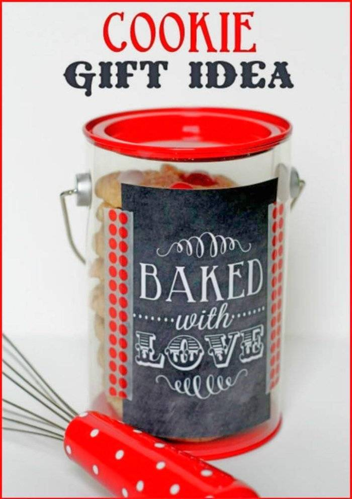 super easy dollar store canister cookie gift basket
