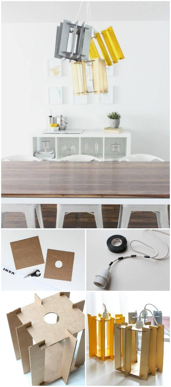 repurposed cardboard pendant light