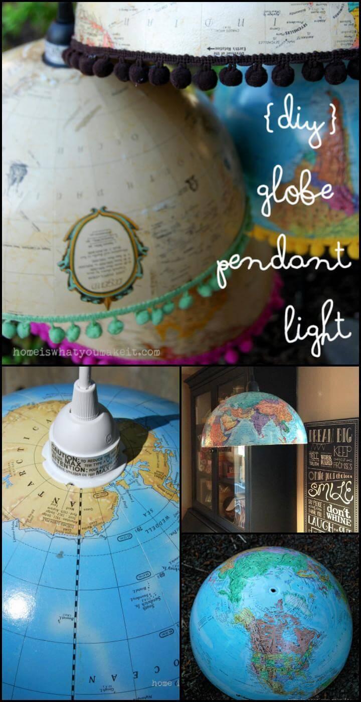 homemade globe pendant light