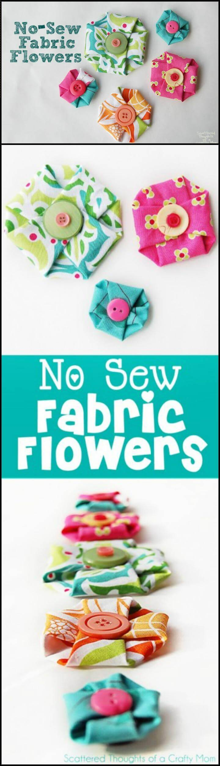 easy no-sew fabric flowers