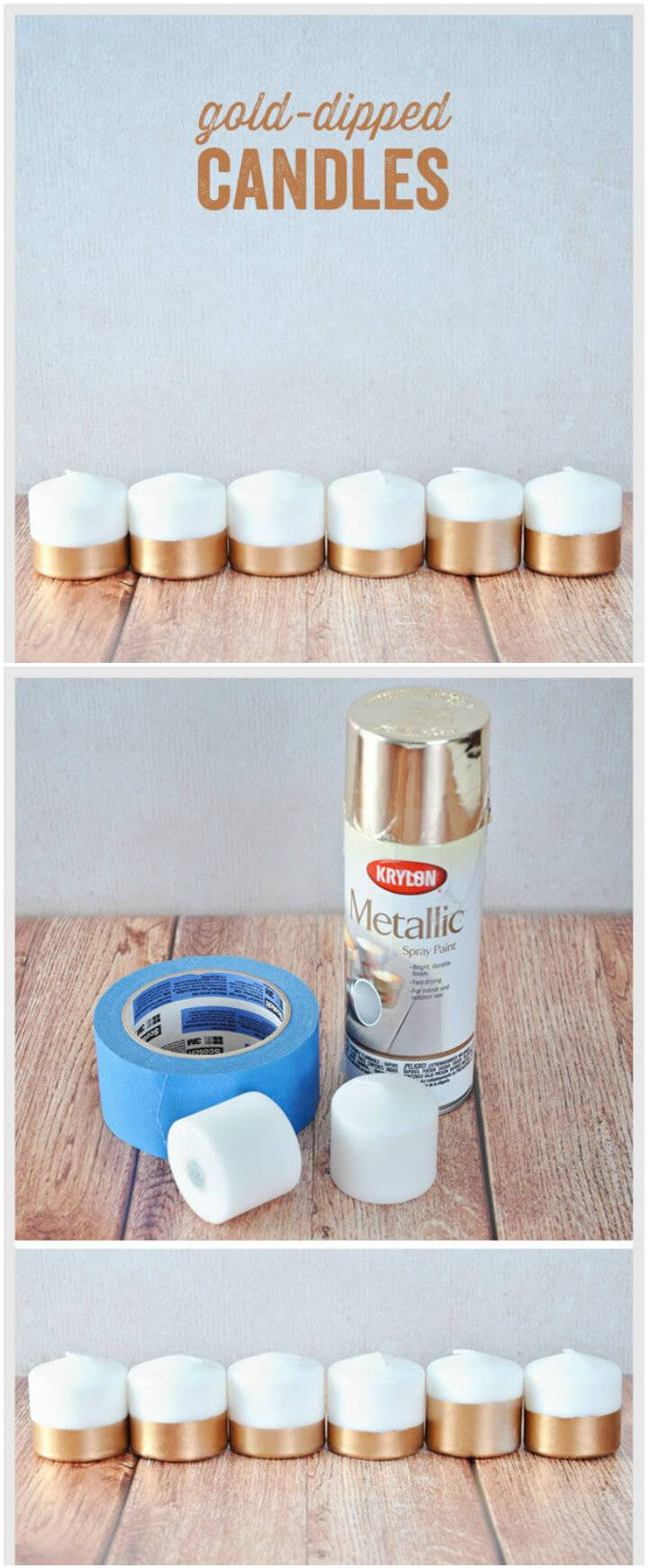DIY modern gold dipped candles
