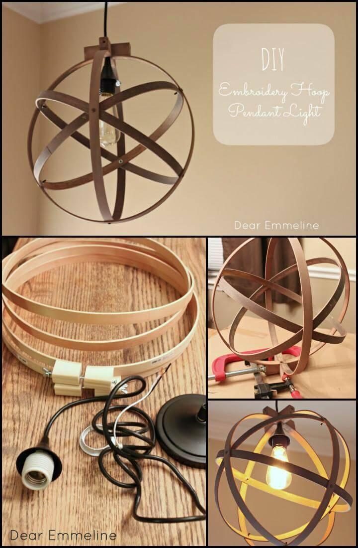 beautiful embroidery hoop pendant light