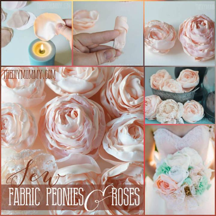 handmade fabric roses and cabbage peonies