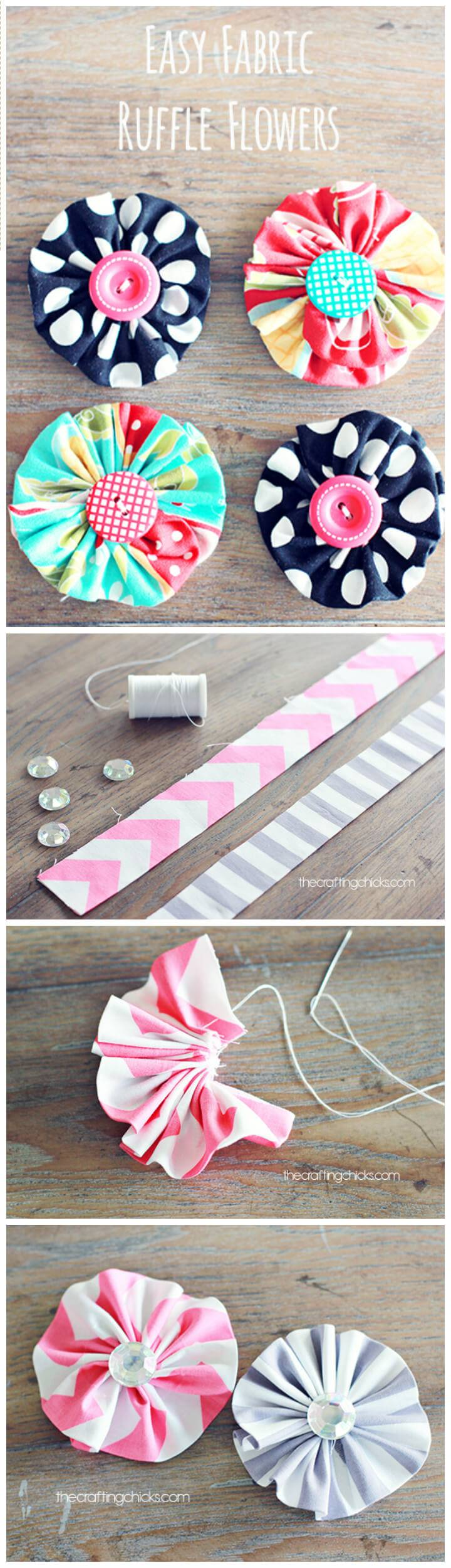 50 easy fabric flowers tutorial make your own fabric for Fabric crafts to make