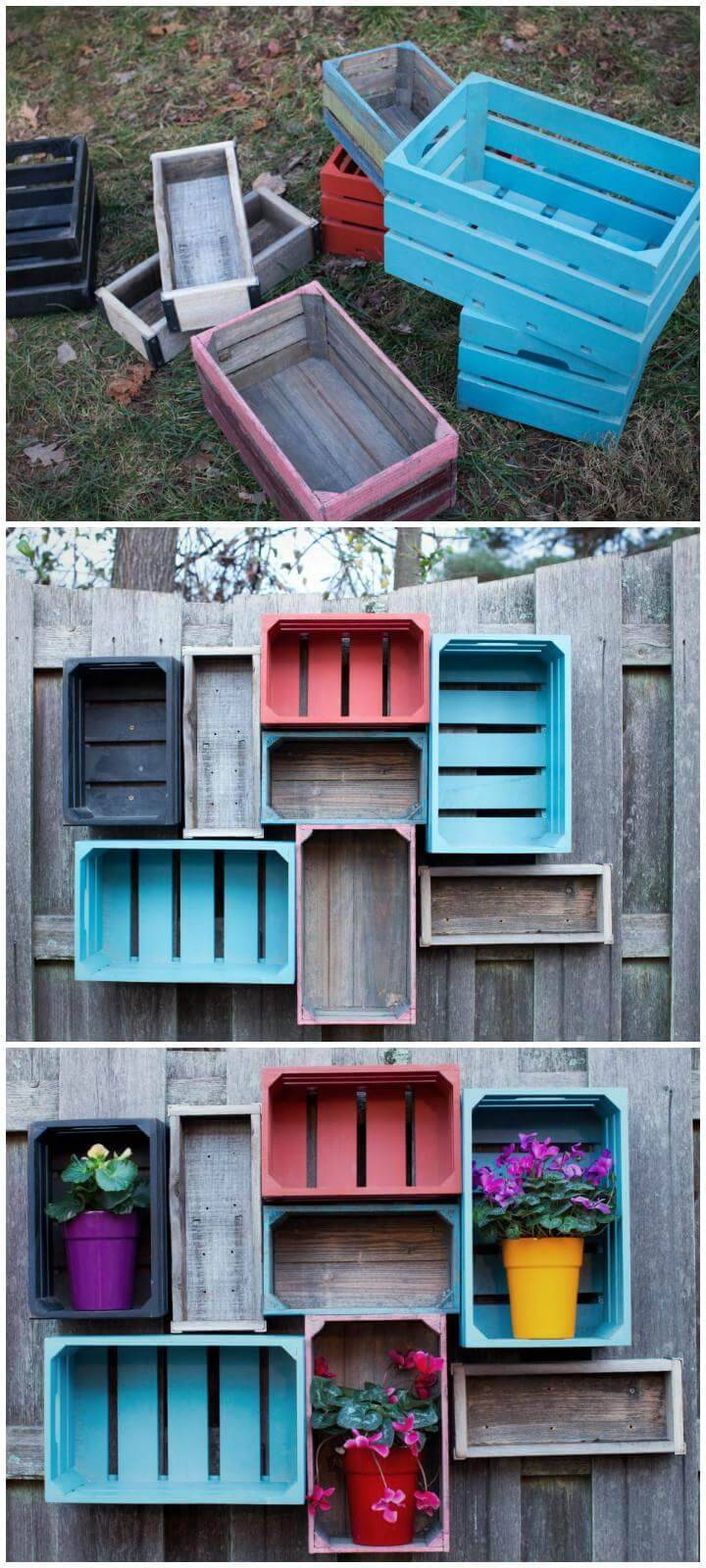 repurposed crate fence storage and display shelves