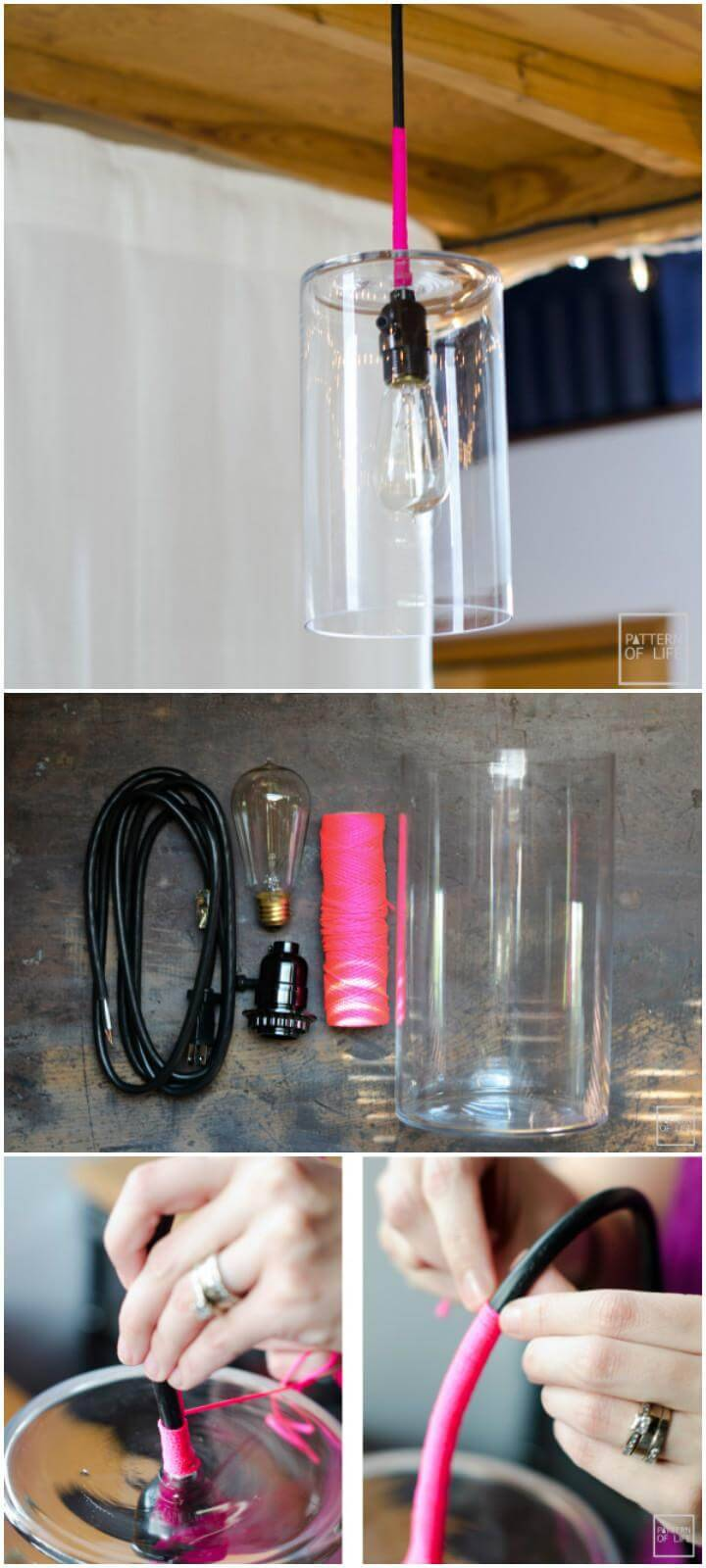 self-made glass pendant light