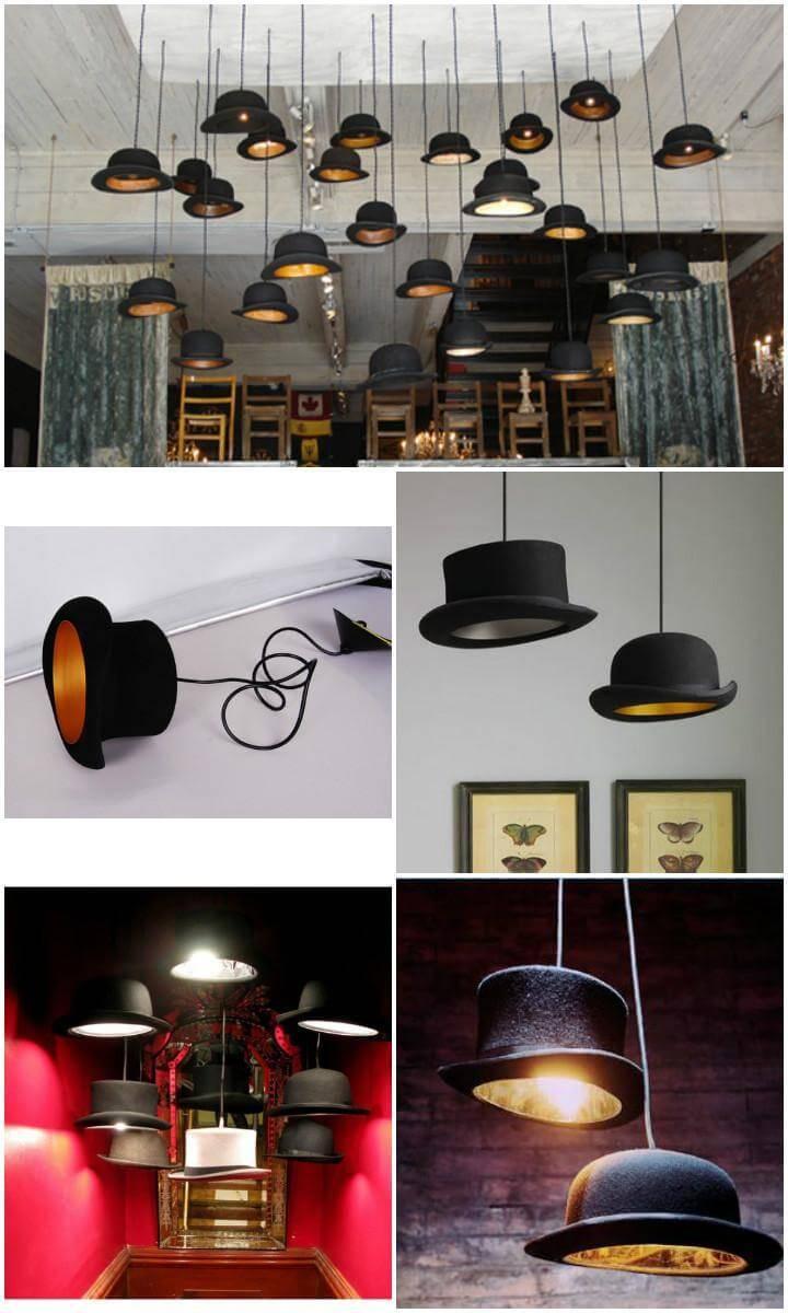 repurposed hat pendant lights