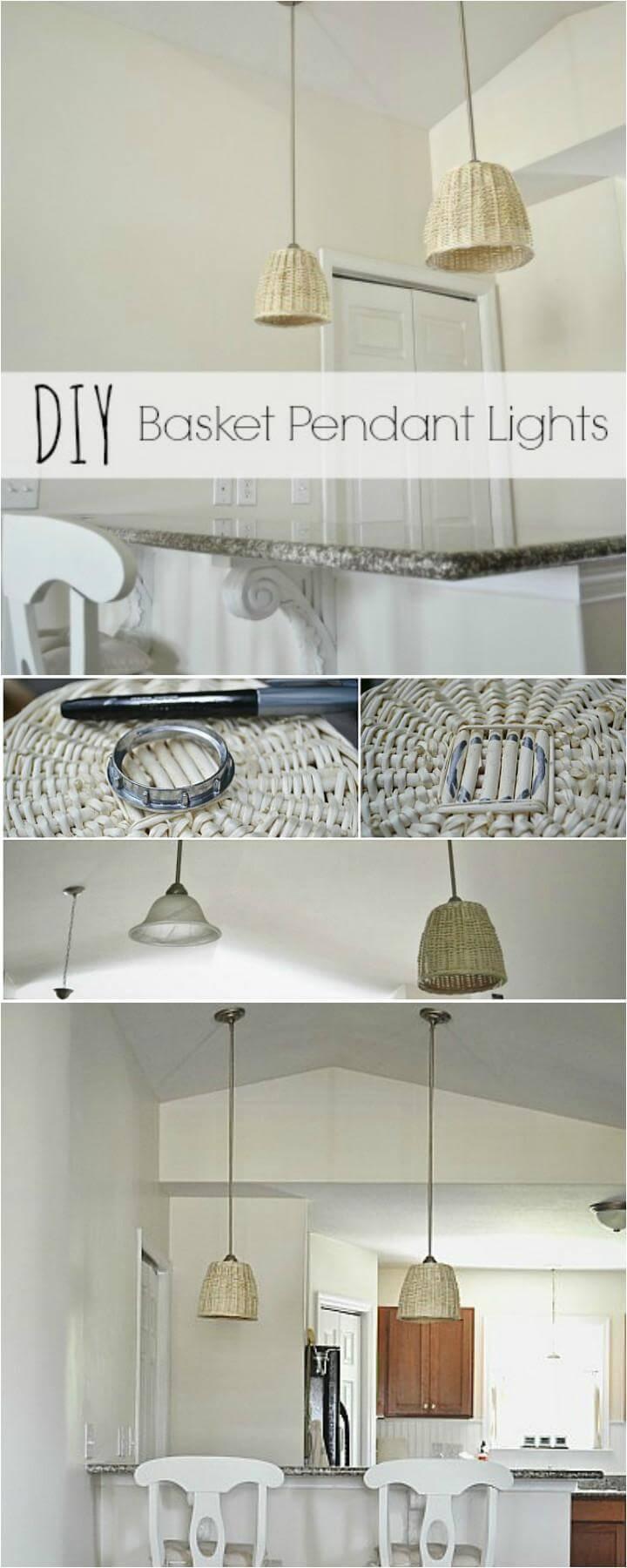 handmade low-cost basket pendant light
