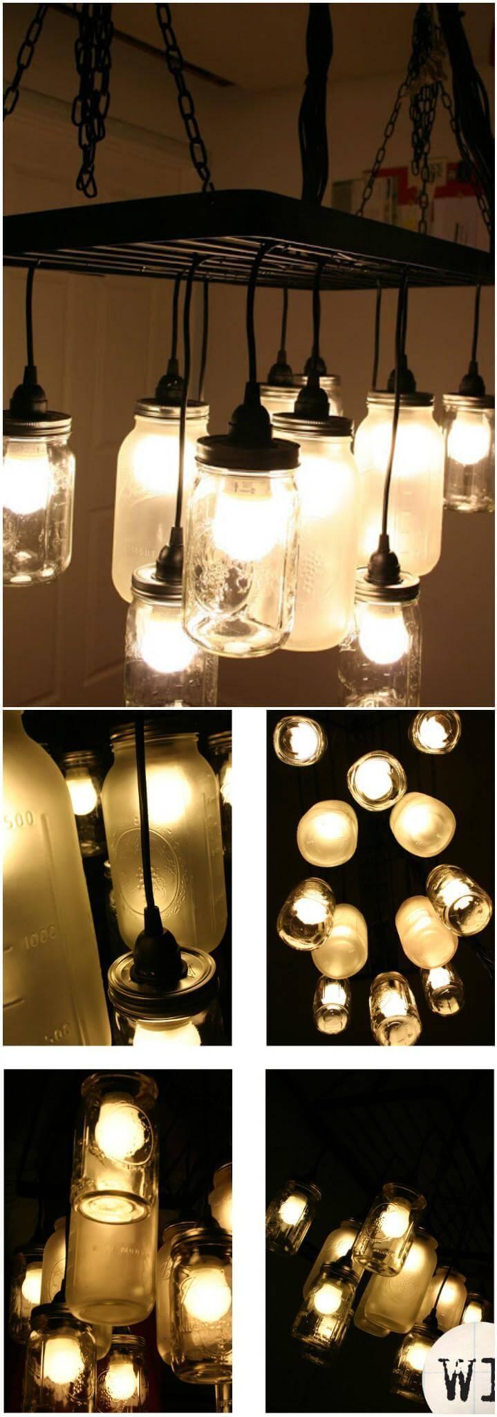 super beautiful Mason jar chandelier