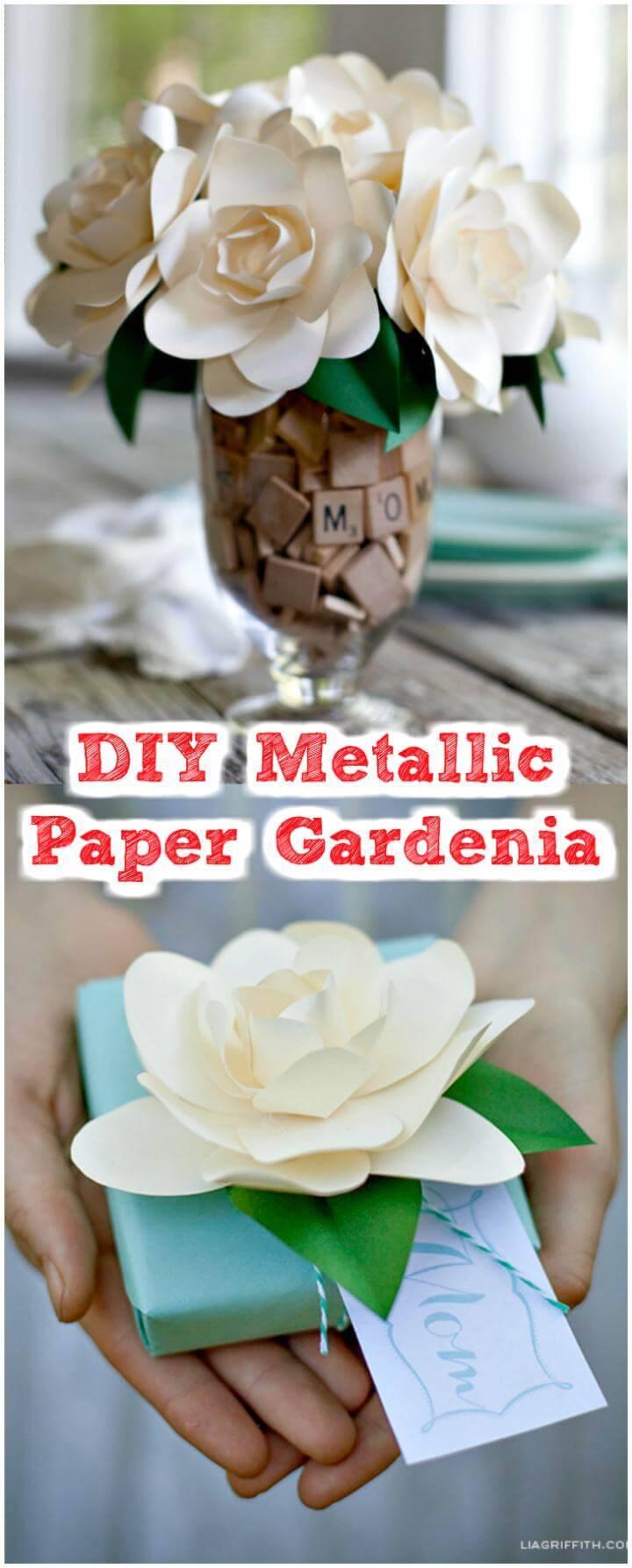 handmade metallic paper gardenia