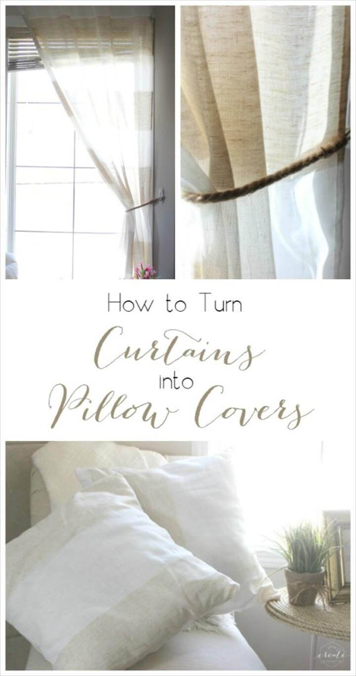 pillow covers made out of old curtains
