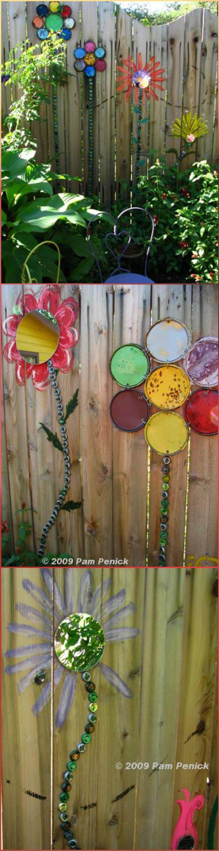 repurposed old paint can lids into fence flowers