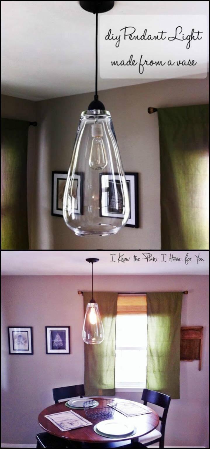 old vase pendant light idea