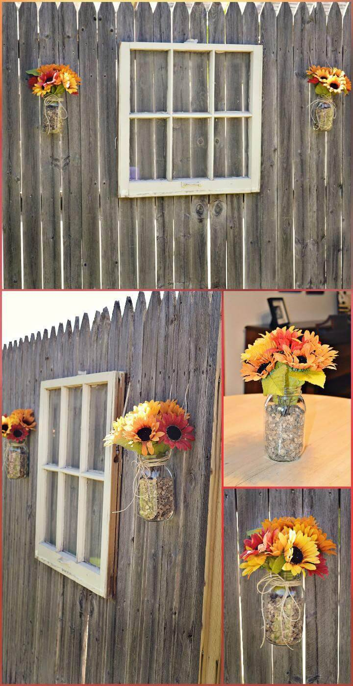 repurposed old window and flower jar garden fence decoration