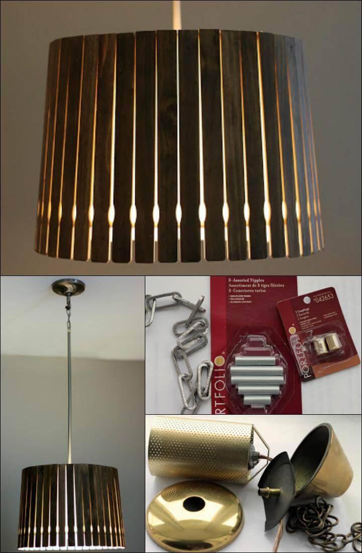 modern pendant light made of paint sticks