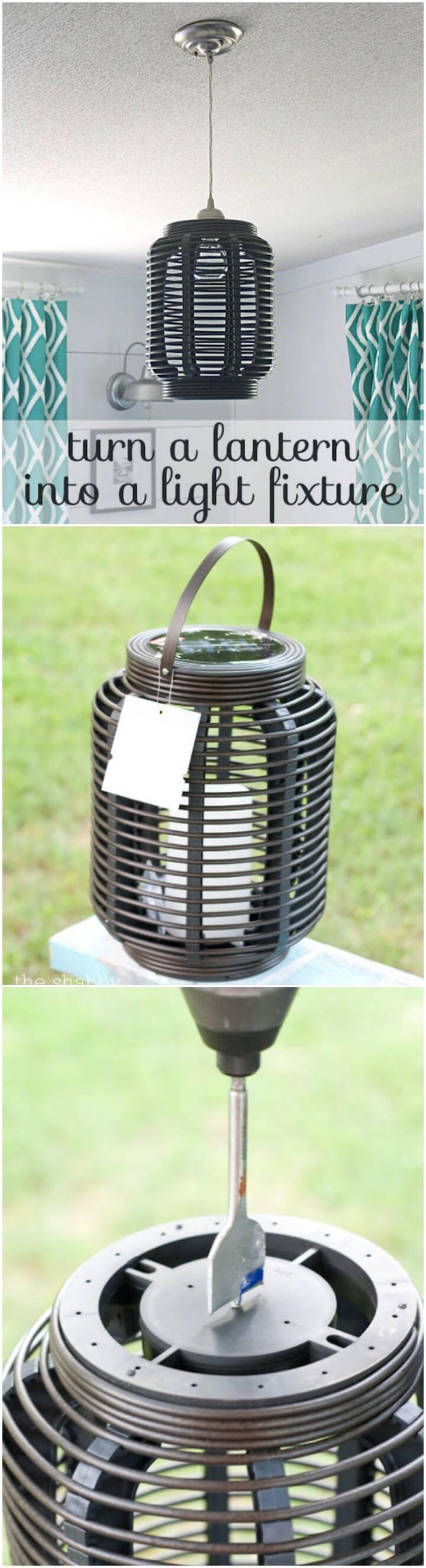 upcycled lantern into pendant light